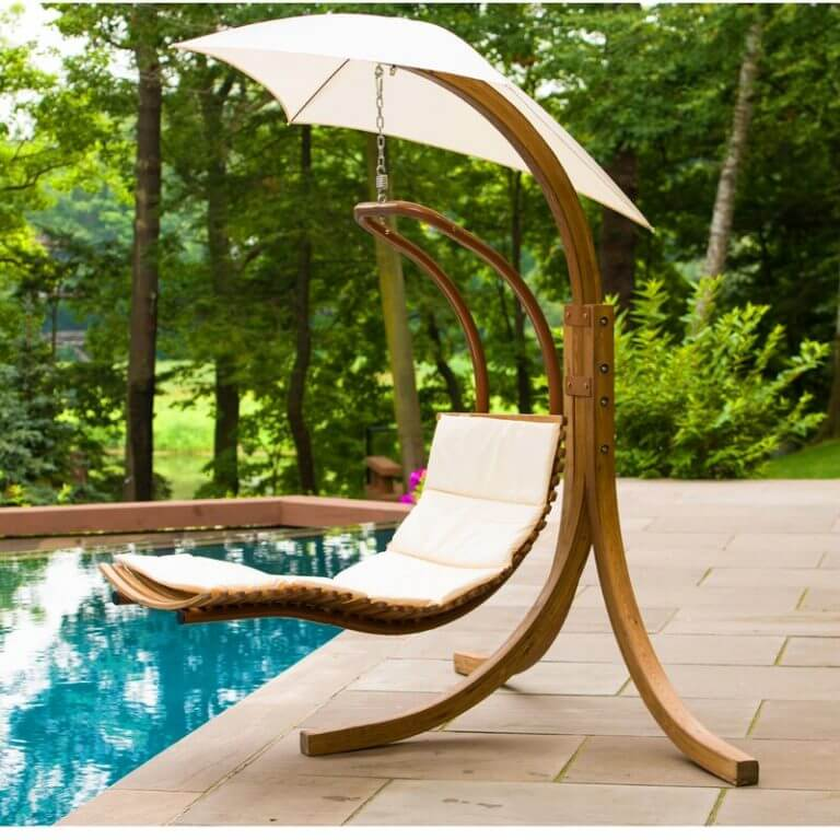 wooden-Hanging Chaise Lounger with Stand-and-canopy